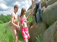 Amazing double fuck outside with teenie