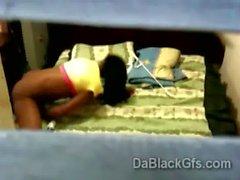 Beautiful black hottie gets spied while masturbating