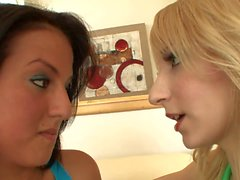 Fresh faced blonde and brunette lick eack other in 69 position