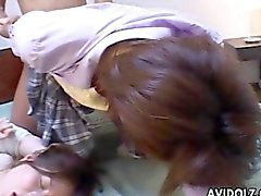 Lovely Japanese teens pounded hard in a raunchy orgy
