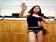Arab Teen Girl Dancing At Home