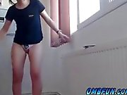 ombfun Pink Thong Teen Shaking to OhMiBod Vibrator Full Body Orgasm