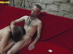 Sumptuous brunette slavers over this hard dick