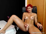 Warm Redhead Busty Plays With Her Pussy
