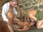 Three horny old ladies serviced by young cocks