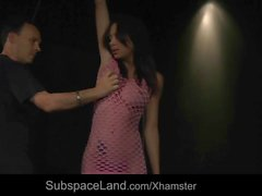 Red punished ass suffering harsh whipping in bondage sub