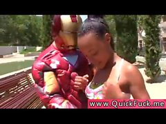 IRON MAN fucks hot ebony teen