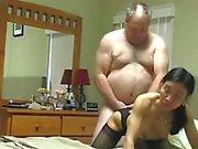 Grandpa fucks Asian Wife