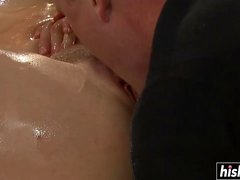 Brunette hottie pleases a hard dick