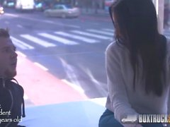 BoxTruckSex - Shy hot chick fucks in a one-way mirrored truck in the public
