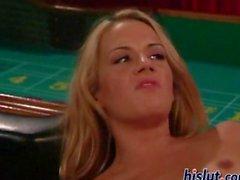 Blonde hustler got stuffed on a pool table