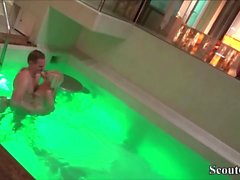 Petite German Teen Seduce to Fuck in Public Swimming Pool