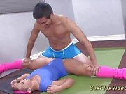 Flexible teen gets her pussy drilled