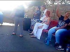 Voyeur Smoking teen at theme park