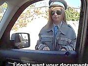 Latoya in uniform twat fucked in the car by horny stranger