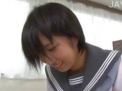 Japanese teenie riding cock