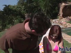 Hot redhead chick has her beaver dicked