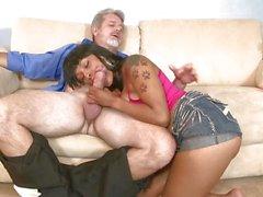 Porche Carrera sucking a old mans dick