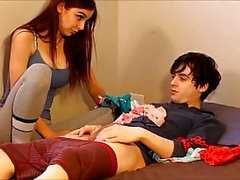 JESSICA-Catches roomy sniffing her panties
