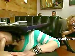 Teen slut caught masturbating in public cafe is given cocks to suck in rough sex orgy videoclip