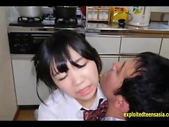 Jav Idol Teen Schoolgirl Fucked On The Kitchen Table