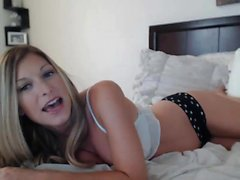 Blonde amateur gives webcam show with toys
