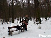 Outdoor winter fun with a hot blonde chick