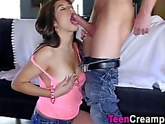Creampie wanting teen rams and suck the sweet cock