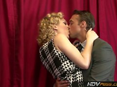In this HD parody porn, sexy blonde slut Lily Labeau strips