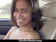 ThisGirlSucks Ebony Teen Sucks Cock In The Car