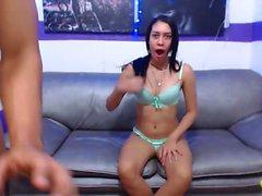 Brunette teen masturbation orgasm show with toys on webcam