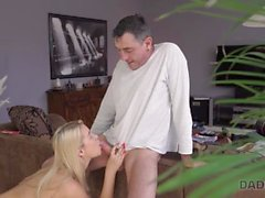 DADDY4K. Skillful dad shares sexual experience with son's slutty GF