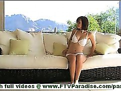 Hayden short hair brunette in white underwear undressing and toying pussy