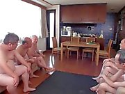 Japanese girl gets fucked by a group of old men