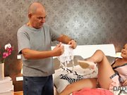 DADDY4K. Black-haired teen and mature guy enjoy sensual...