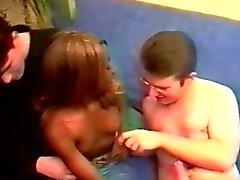 Beautiful African teen gets seduced by 2 horny white studs