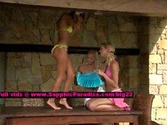 Debby and Aneta and Jenny lesbo chicks licking