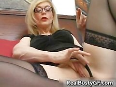 Blonde mom in glasses licking stiff part3