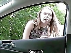 Russian teen with huge tits fucked in car