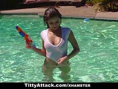 TittyAttack - Tight & Wet Teen Fucks Big Cock