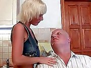 Hot teen fucking a fat grandpa