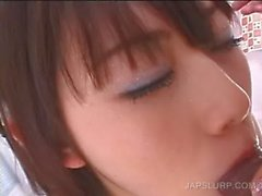 Close-up with teen asian sucking shaft