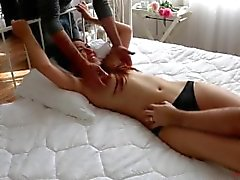 Evelina Topless tickle in four hands Russian bondage