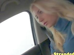 Young blonde hitcher groping a cock