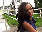 Diamond Monroe fucked by fat hard cock in public
