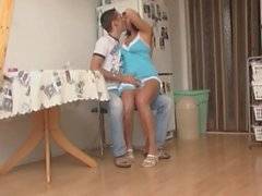 Milf and young guy have fun.