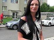 Tattooed amateur flashing in bra in public