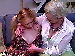 Blonde mature eating teen pussy
