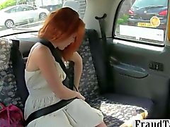 Redhead customer fucked by a fake taxi driver
