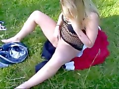 Horny Fat CHubby GF masturbating her pussy at the park